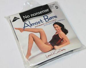 💋 No Nonsense Pantyhose Lace Panty Sz D Midnight Black Almost Bare Lace Hi Cut