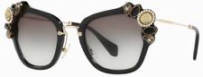 Miu Miu Damen Sonnenbrille SMU03S 1AB-0A7 51mm schwarz Strasssteine H