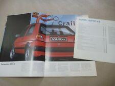 1987 VW GOLF GTI 16S Catalogue Brochure Prospekt Dépliant French