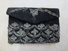 Antique Vintage Hand Decorated Black Velvet with Steel Ring Change Purse