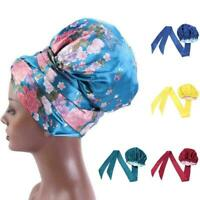 Women Elastic Shower Caps Satin Night Sleep Cap Hair Cover Head Hat Bonnet M3Y1