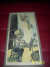 Mervin Jules signed print young boy playing flute title practice rare vintage