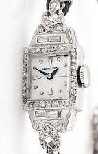 Antique 1940s 1.25ct VS G Baguette Round Diamond HAMILTON Ladies Platinum Watch