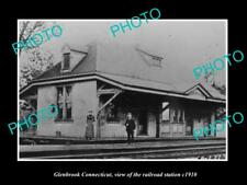 OLD LARGE HISTORIC PHOTO OF GLENBROOK CONNECTICUT, THE RAILROAD STATION c1910