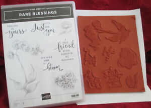 STAMPIN UP RARE BLESSINGS CLING STAMP SET 7 STAMPS NEW