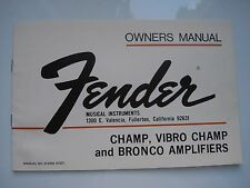 FENDER CHAMP,VIBRO CHAMP,BRONCO AMPS VINTAGE 1970's OWNERS MANUAL WARRANTY, MINT