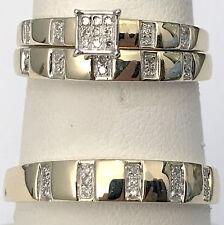 10k Yellow Gold Trio His Her Men Womens Diamond Rings Set Wedding Bridal Bands