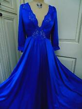 Vtg OLGA Glam 3/4 Sleeve Royal Blue Full Sweep Nightgown Negligee Gown Mint M