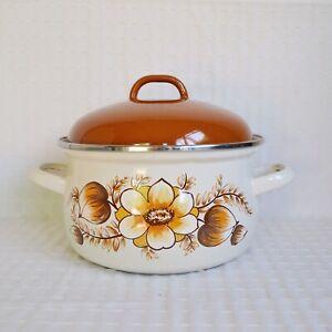 Vintage Enamel Casserole Pan, 1970's Floral Orange Enamel Cooking Pam With Lid