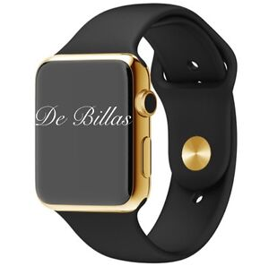 24K Gold Plated 42MM Apple Watch with Black Sports Band