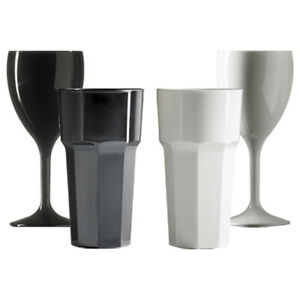 Premium Reusable Polycarbonate Plastic Wine & Tumbler Glasses in Black & White