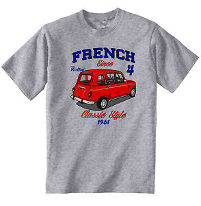 VINTAGE FRENCH CAR RENAULT 4 - NEW COTTON T-SHIRT