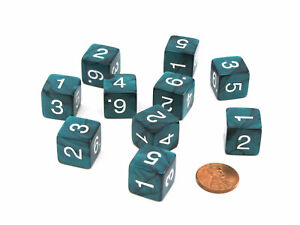 Pack of 10 D6 16mm Koplow Games Pearl Numbered Dice - Emerald
