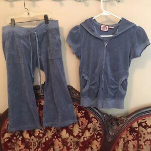Juicy Couture light blue  Velour Velvet Tracksuit Hoodie & Pants small Rare
