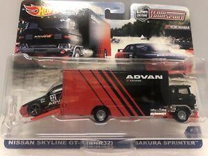 Hot Wheels  Team Transporter *Nissan Skyline R32 & Sakura Sprinter *1:64*ADVAN