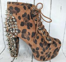 Jeffrey Campbell Lita Spike Suede Leopard Platform Boots Women US 8.5