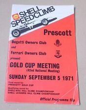 Shell Speedclimb Prescott Gold Cup Meeting Programme 1971