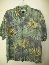 TOMMY BAHAMA HAWAIIAN Button Down 100% SILK Green Gray SUMMER SHIRT Mens M