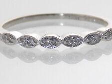 14KT WHITE GOLD FILIGREE/MILGRAIN DIAMOND WEDDING ENGAGEMENT BAND RING SIZE 6.25