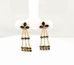 Estate $350 Blue Sapphire 18K Yellow Gold Long Drop Earrings