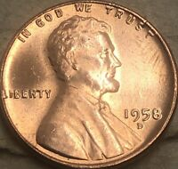 1958 -D UNC GEM BU Lincoln Cent Wheat Penny. Copper Lincoln Wheat. Uncirculated