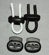 (1,20€ Stk) 2 x Kordelstopper mit Feder, 2-Loch, Ø 5mm, schwarz