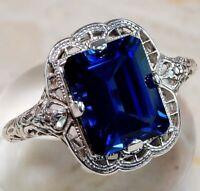 Huge Natural 3.5Ct Tanzanite 925 Silver Ring Women Wedding Engagement Size 6-10