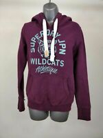 WOMENS SUPERDRY WILD CATS MAROON PURPLE PULL OVER HOODIE JUMPER XS XSMALL