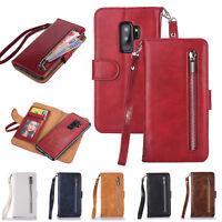 Detachable PU Leather Wallet Flip Card Holder Zipper Handbag Phone Case Cover