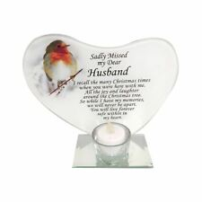 Husband Christmas Robin Glass T-light Candle Holder Memorial Tribute