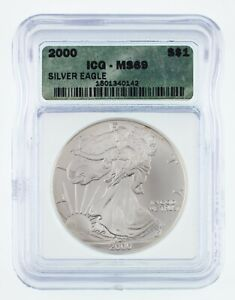 2000 $1 Silver American Eagle Graded by ICG as MS-69! Gorgeous Eagle!