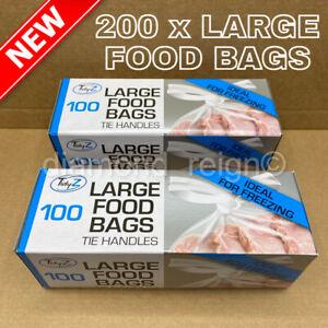 200 x Large Strong Food Fridge Freezer Bags Tie Handles Resealable Storage Use