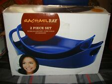 Rachael Ray Blue 2 Piece Bubble and Brown Oven Ovals Stoneware Set. New in Box