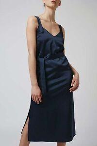 Topshop Hammered Satin Midi Slip Dress in Red, Black, Teal / UK Size 8, 10