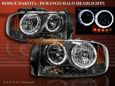 Dodge Dakota Durango Headlights Black Twin Halo LED 97 98 99 00 01 02 03 04