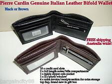 Pierre Cardin Italian Leather Billfold Mens Wallet (pc1162) Black
