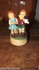 Musical Boy & Girl Figurine Marked Japan Plays Somewhere My Love