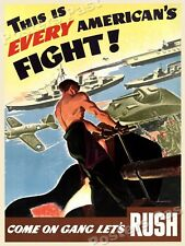 """""""This is every American's Fight!"""" 1942 Vintage Style World War 2 Poster - 18x24"""