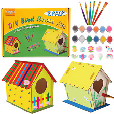 Diy Bird House Kit for Kids-2 Pack Big Size Build and Paint Birdhouse Crafts for