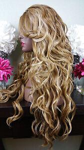 Beautiful Ash Brown & Platinum Blonde Lace Front Wig w/Long Bangs Wavy Heat Safe