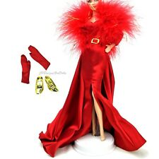 Barbie moda vestido de charmeuse Rojo Traje de Fiesta fundido de Hollywood nuevo sin el muñeco