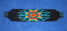 "Aquq Sunburst Beaded Bracelet Magnetic clasp 7"" L  x 1.5"" wide"