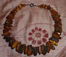 OLD ANTIQUE VINTAGE RAW BALTIC AMBER STONE NECKLACE unpolished