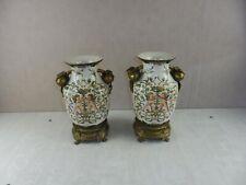 Ancien paire de vase / amphore, décor angelots, en porcelaine, Wong Lee, 1895