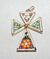 Vintage Rare Italien Micro Mosaïque Maltaise Coptic Pendentif Croix