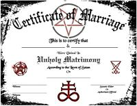 Satanic Certificate of Marriage Wedding Love Devil Goth Soul Pagan Spirit Magic