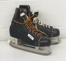 Bauer Hugger Classic Brown Leather & Vinyl Hockey Skates Size 9 Fast Shipping