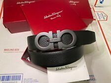 "Salvatore Ferragamo Black Pebbled Tumbled Leather 1.3"" Medium Buckle Belt"