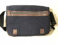 """Dell Canvas Messenger Case Bag 15.6"""" Padded Shoulder Straps Dark Blue Brown Trim"""