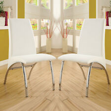 Set of 2 Modern Kitchen Dining Side Chair in White Leatherette & Chrome Base Leg